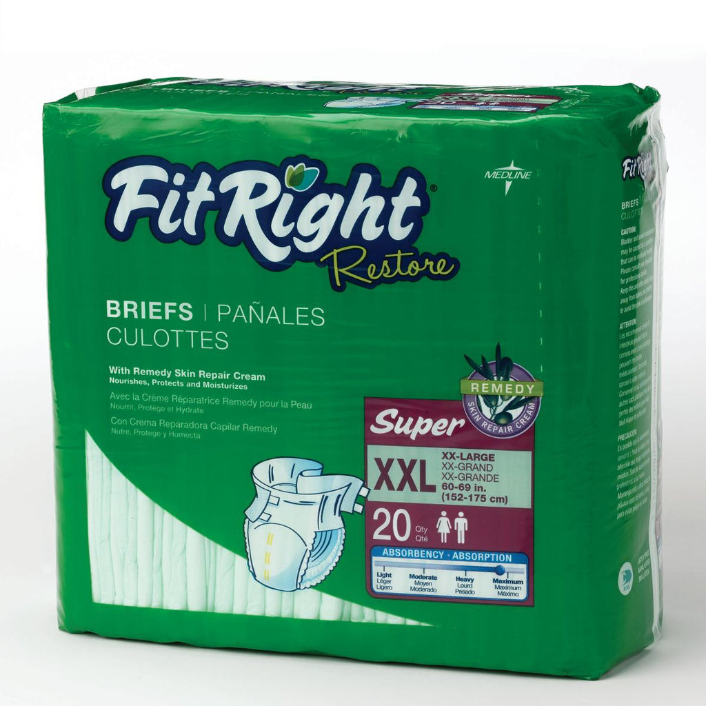 "FitRight Restore Extended Wear Briefs - 60""-69"" XXL - 80 Each / Case"