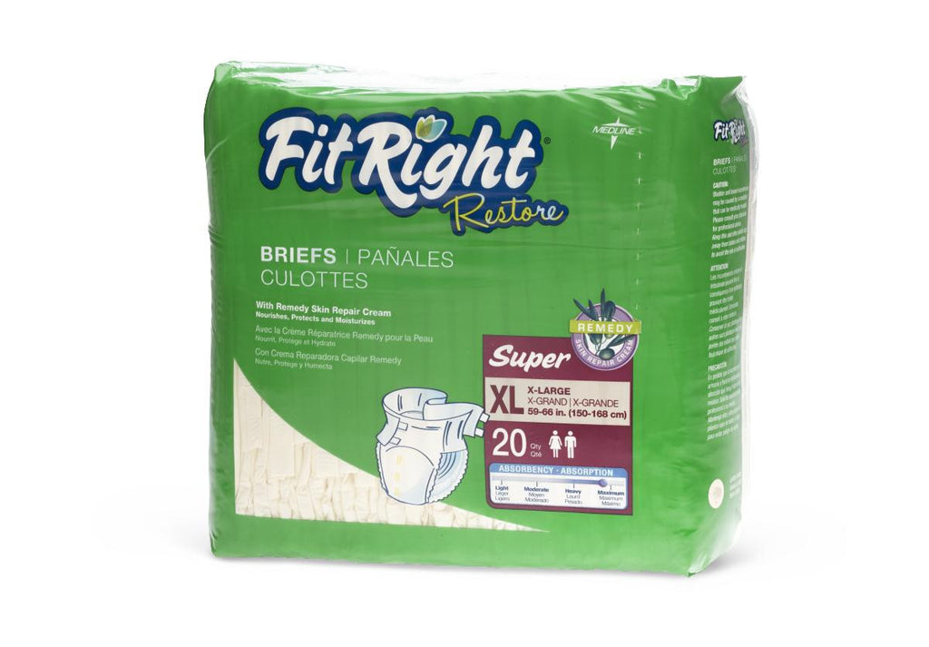 "FitRight Restore Extended Wear Briefs - 57""-66"" X-Large - 20 Each / Bag"