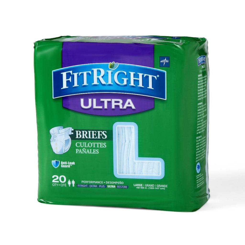 "FitRight Ultra Briefs - 48""-58"" Large - 20 Each / Bag"