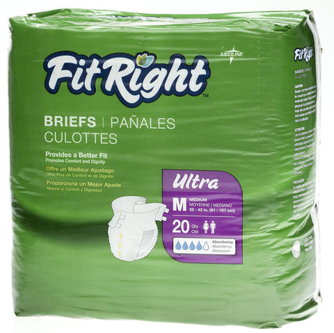 "FitRight Ultra Briefs - 32""-42"" Medium - 20 Each / Bag"