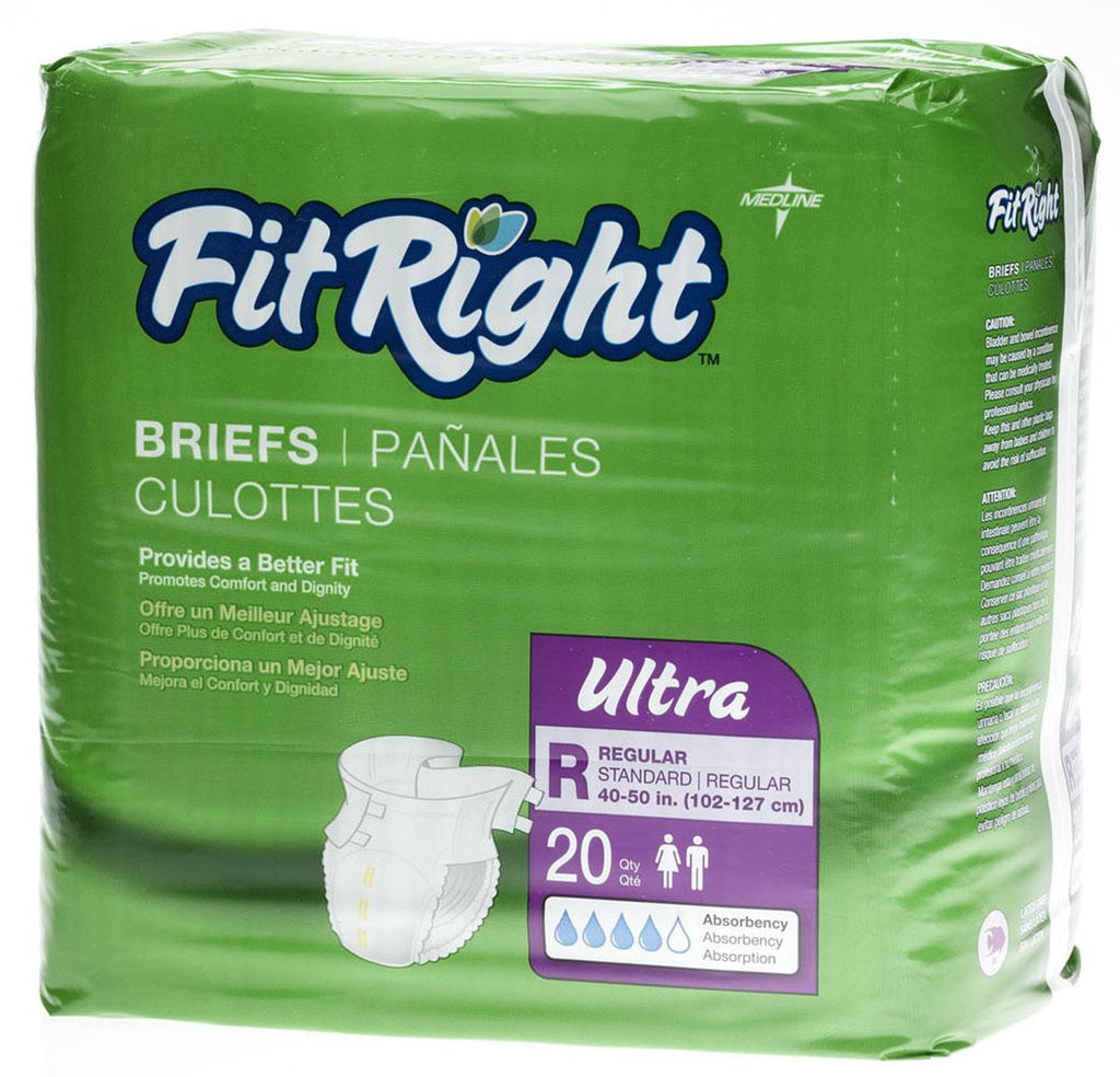 "FitRight Ultra Briefs - 40""-50"" Regular - 20 Each / Bag"