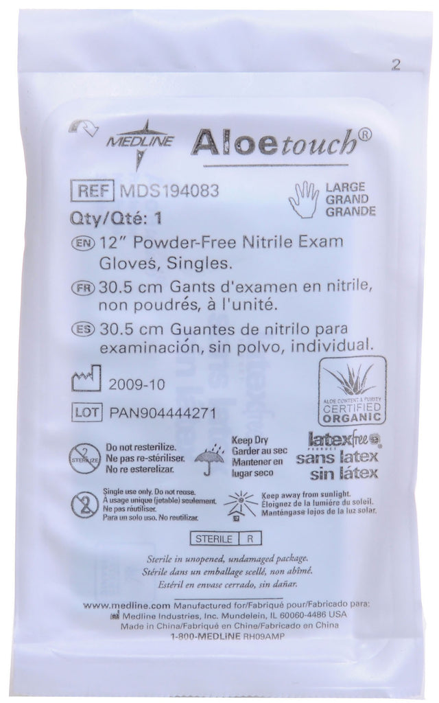 "Aloetouch 12"" Powder-Free Nitrile Exam Gloves - Green - Large - 200 Pair / Case"