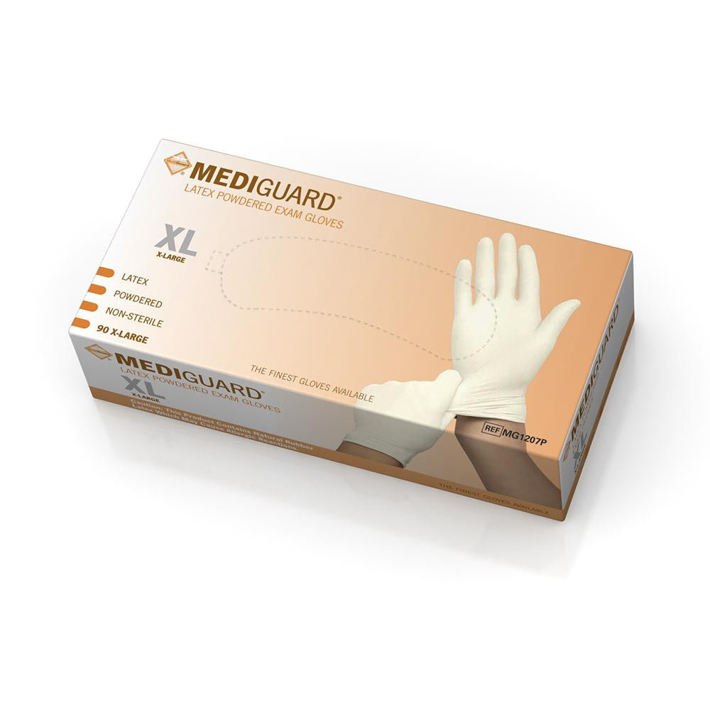 MediGuard Non-Sterile Powdered Latex Exam Gloves - Beige - X-Large - 900 Each / Case