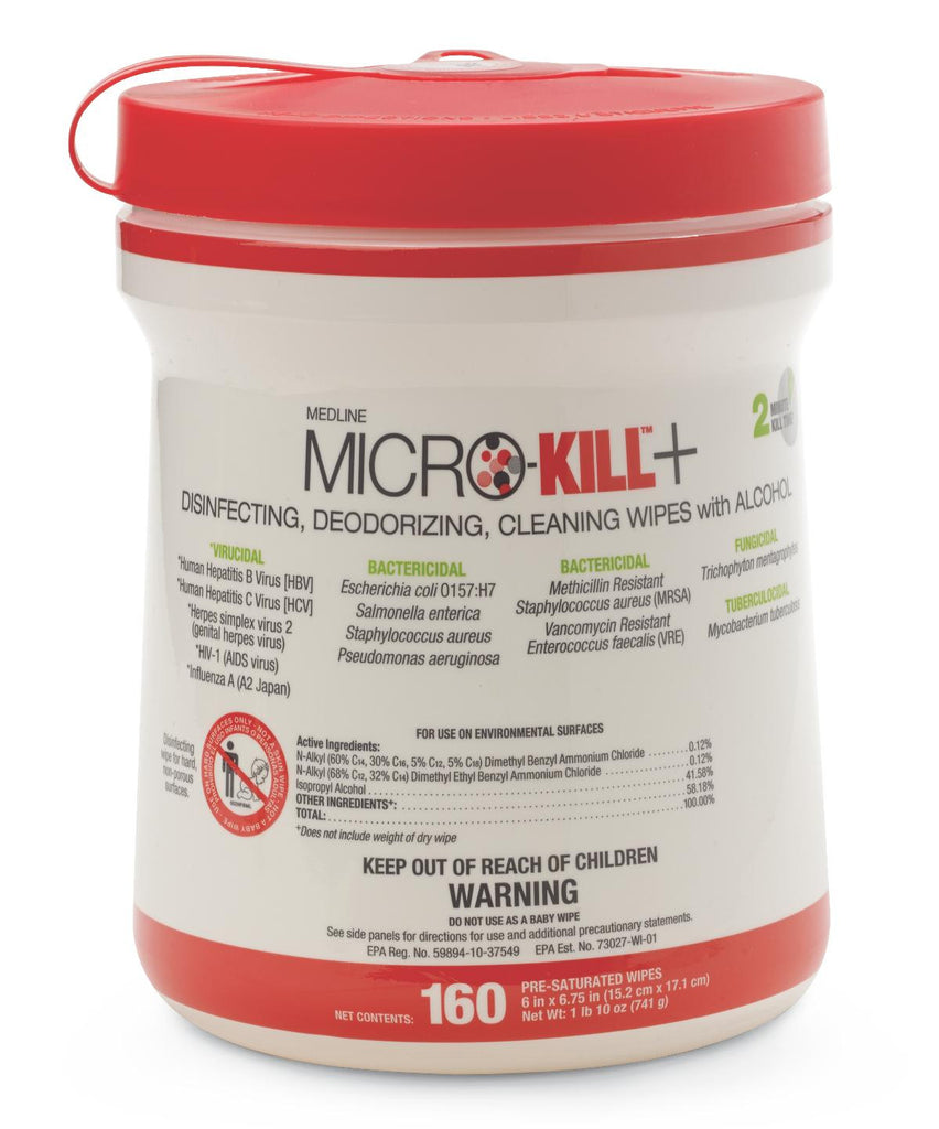 Micro-Kill+ Disinfectant Wipes - 12 Can / Case