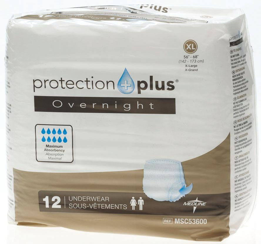 Protection Plus Overnight Protective Underwear - X-Large - 48 Each / Case