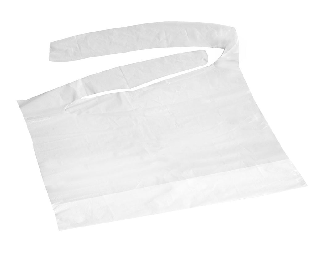 Waterproof Plastic Bibs - White - 500 Each / Case