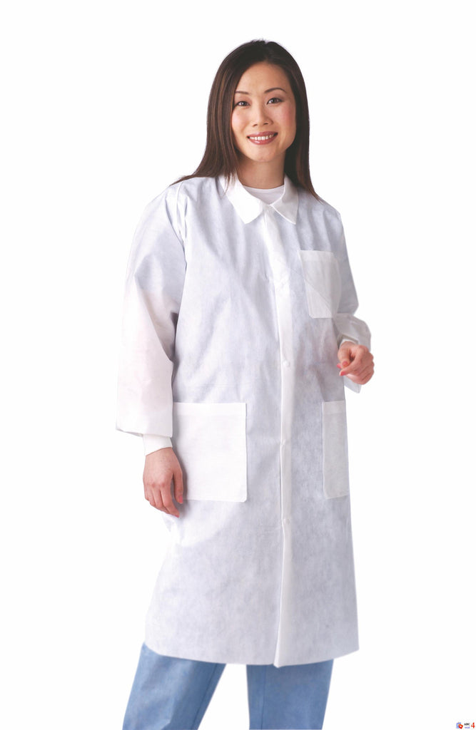 Disposable Knit Cuff / Traditional Collar Multi-Layer Lab Coats - White - Large - 30 Each / Case