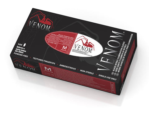 Venom Non-Sterile Powder-Free Latex-Free Nitrile Exam Gloves - Black