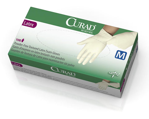 CURAD Powder-Free Textured Latex Exam Gloves - Beige