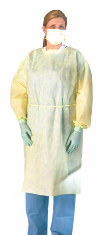 Medium Weight Multi-Ply Fluid Resistant Isolation Gown - Yellow - Regular/Large - 100 Each / Case