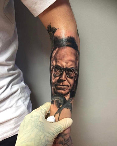 Lennart Meri Portrait Tattoo