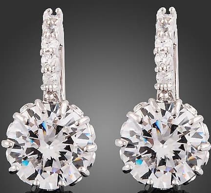 18k White Gold  Clear Swarovski Crystal Zircon  Earrings