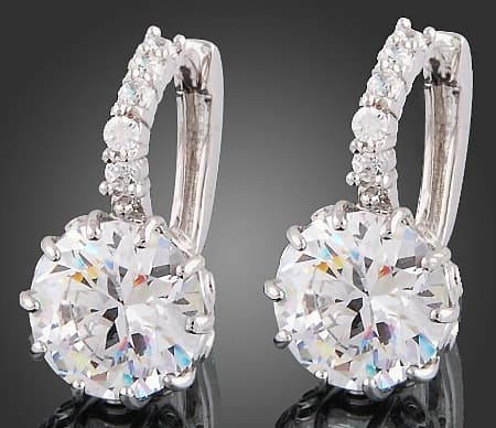 18k White Gold  Clear Swarovski Crystal Zircon  Earrings - Ladys Jewels & More