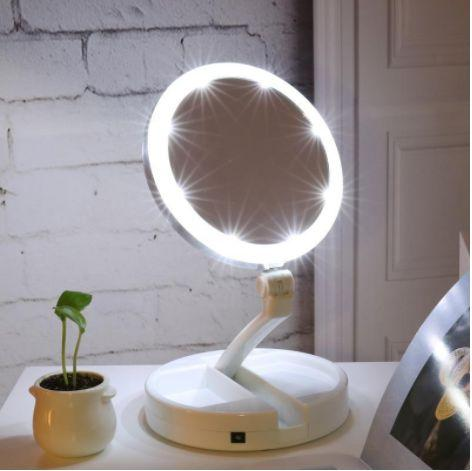 LED Lighted Folding Vanity Travel Mirror - Ladys Jewels & More