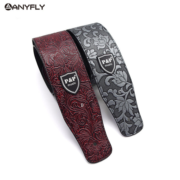 PU leather Embossed Guitar Strap - Ladys Jewels & More
