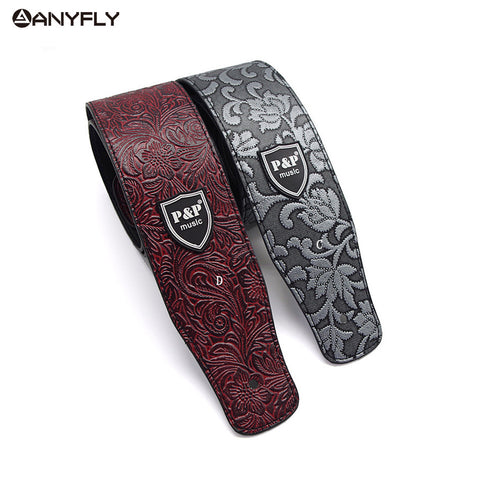 PU leather Embossed Guitar Strap