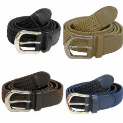 "Wholesale Men's Elastic Stretch Golf Belt 1-1/4"" Gold and Silver Buckle"