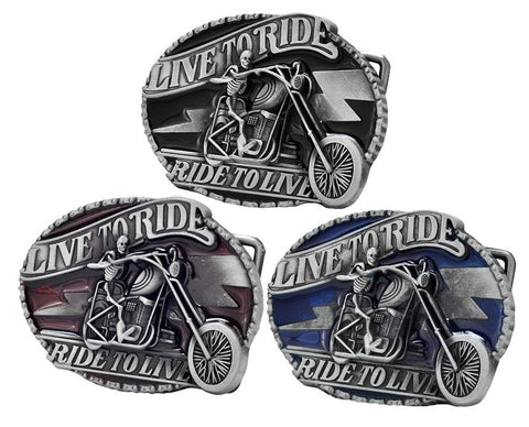 Live to Ride Motorcycle Biker Belt Buckle 1367