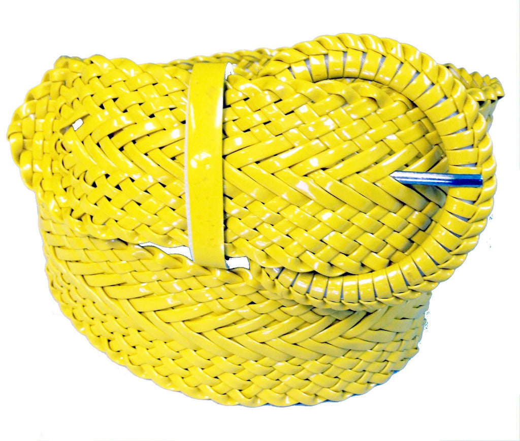 Wholesale Girl's Wide Braided Casual Belt Yellow belt 3002YL