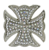 Wholesale Western MALTESE Clear Rhinestone Cross Conchos 6 pcs CH130CL