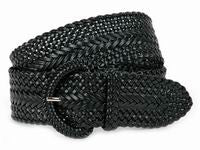 Wholesale Girl's Wide Braided Casual Belt Black belt 3002BK