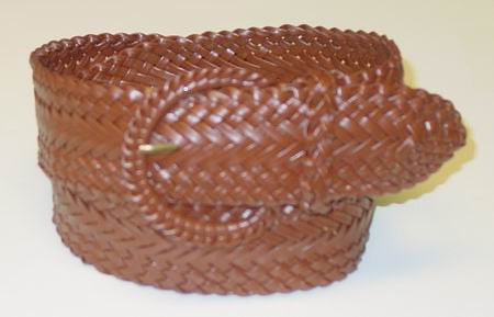 Wholesale Girl's Wide Braided Casual Belt Brown belt 3002BN