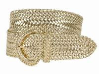Wholesale Girl's Wide Braided Casual Belt Gold belt 3002GD