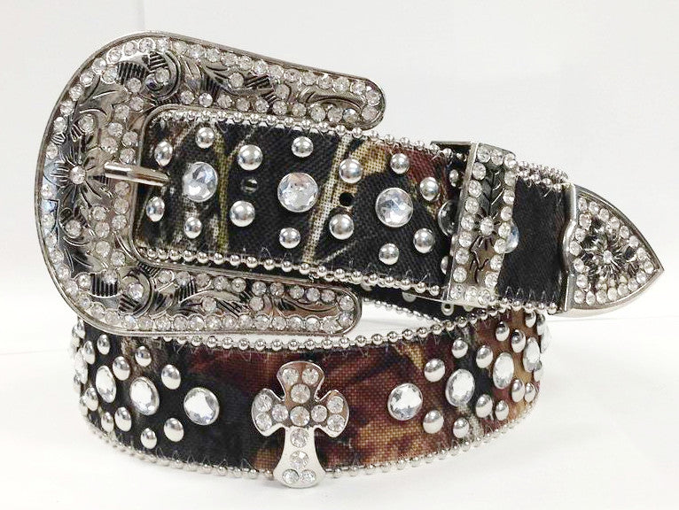 Western Camouflague Cross Cowgirl Rhinestone Belt 50121CM