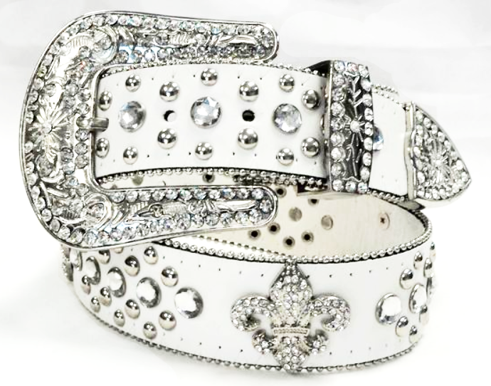 Wholesale White Western Fleur De Lis Cowgirl Bling Rhinestone Belt Wholesale 50124WH