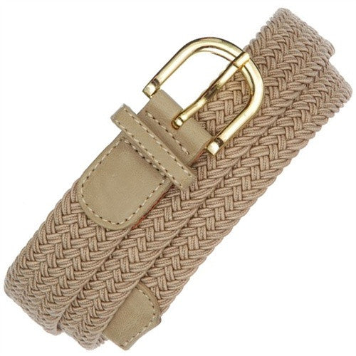 "Wholesale Stretch belt Beige color 1-1/4"" Gold buckle Mens belt"