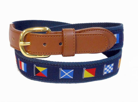 Boating Nautical Signal Flag Sports Leather Belt Wholesale 9808