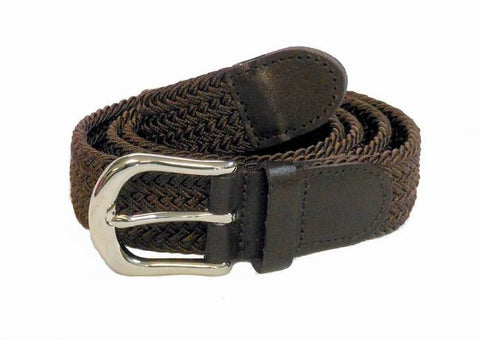 "Wholesale Golf Woven Elastic silver buckle Leather Belt 1-1/4"" 7200BN"