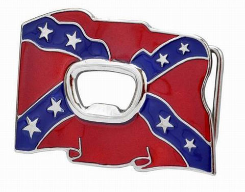 Flying Rebel Confederate Flag Bottle Opener Belt Buckle Southern 1672-2