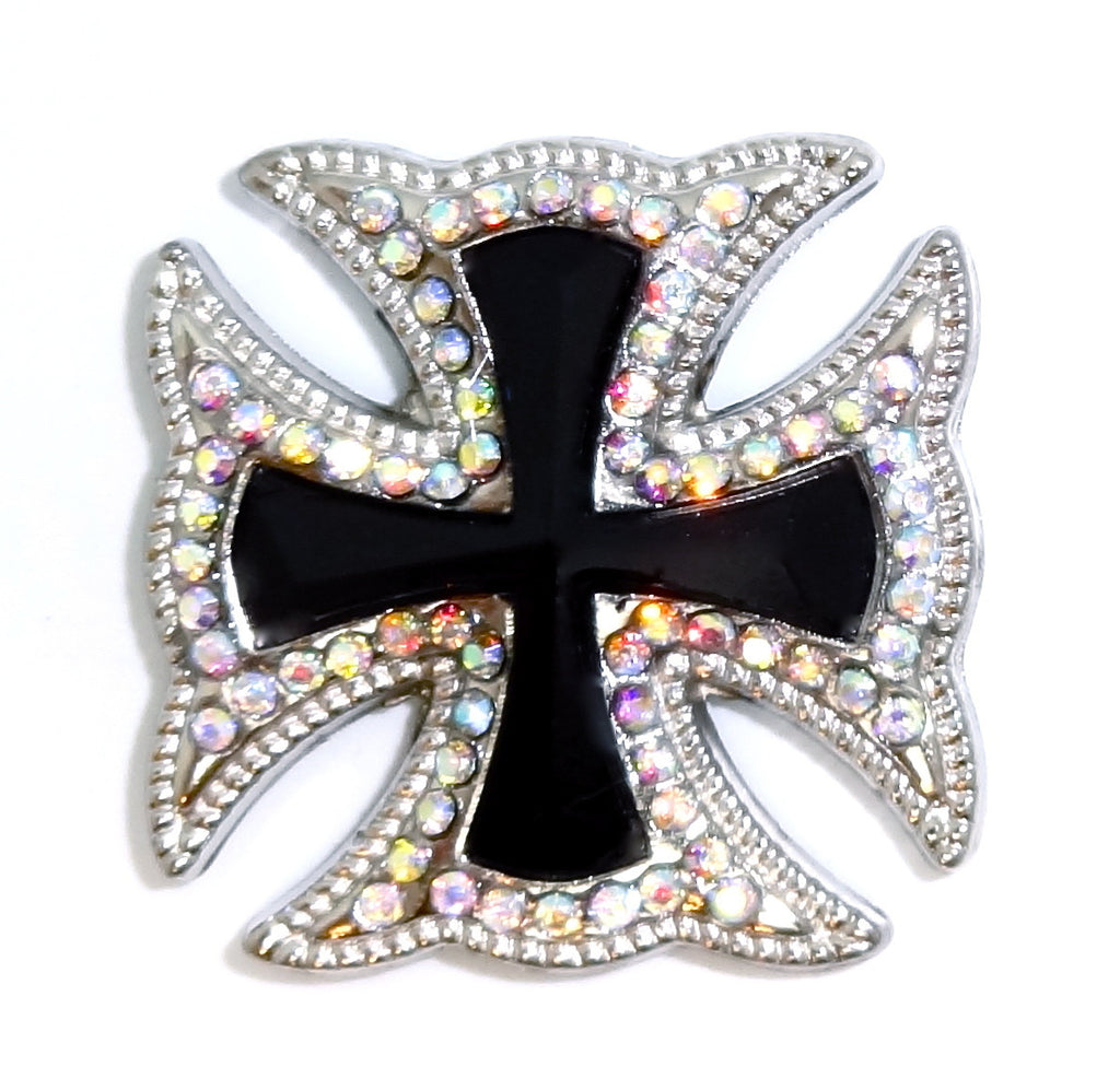 Wholesale Western Maltese CROSS BLACK concho 2 pcs CH169BK