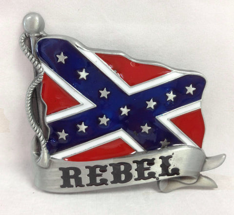 Rebel Flag Banner Belt Buckle Southern Confederate Pride 1278