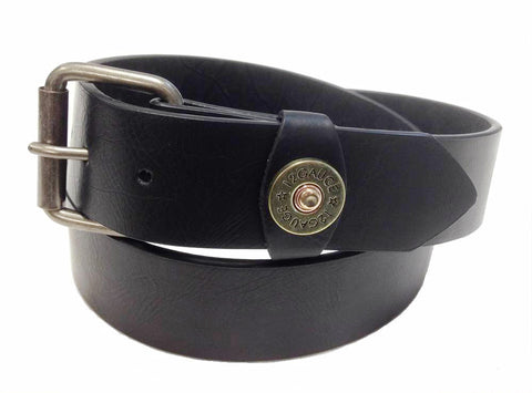 Wholesale black snap belt with 12 gauge shot gun concho
