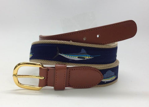 Fishing Sports Boat Leather WEB SAILFISH Belt wholeslale 9804 NAVY BLUE OR KHAKI
