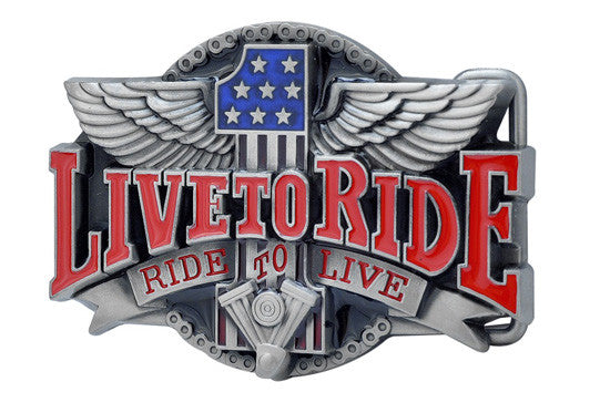 LIVE TO RIDE Belt Buckle Biker Motorcycle Engine 1274
