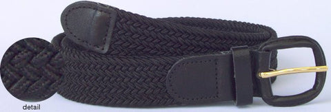 Mens elastic stretch belt black belt