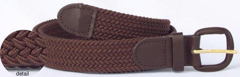 Wholesale Men's Elastic Braided Stretch Golf Belt BROWN Color 7001BN