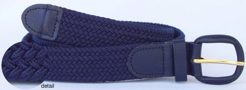 Big and Tall Elastic Stretch Belt wholesale, Wholesale Men's Elastic Braided Stretch Golf Belt Navy Color 7001LNB