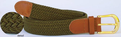 Wholesale Men's Elastic Braided Stretch Golf Belt OLIVE Color 7001OV