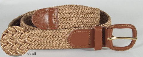 Wholesale Men's Elastic Braided Stretch Golf Belt TAN Color