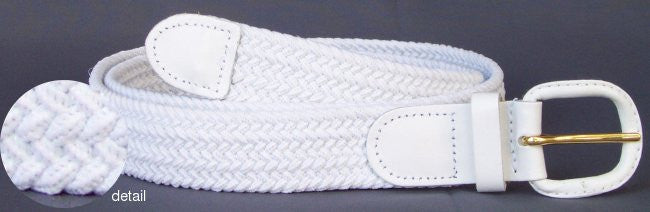 Wholesale Men's Elastic Braided Stretch Golf Belt WHITE Color 7001WH
