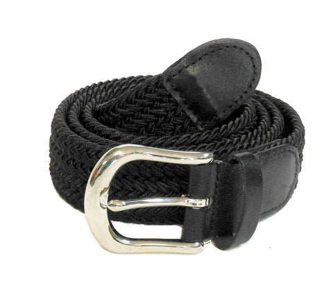 "Wholesale Golf Woven Elastic Leather Belt silver buckle 1-1/4"" 7200BK"