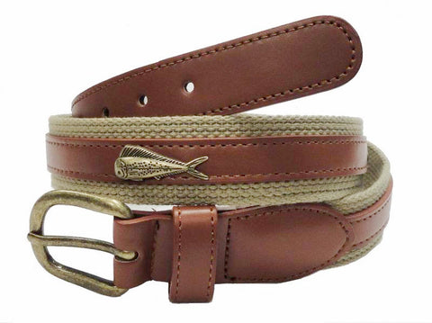 Fishing Marine Leather Canvas Embossed Dolphin Belt wholeslale 7701KH