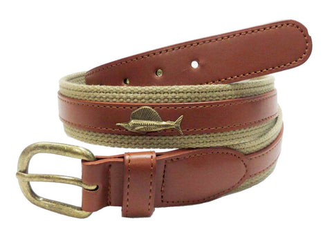 Fishing Marine leather metal Sailfish Belt wholeslale 7702KH