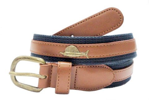 Marine Leather Embossed metal sailfish Belt wholeslale 7702NB