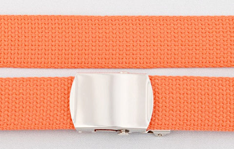 "Wholesale Military Web cotton Canvas Belt 30mm Wide ORANGE color 50"" Long 4000OR"