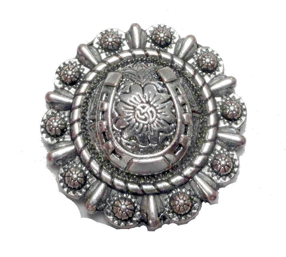 Wholesale supply PEWTER RODEO LUCKY HORSE SHOE CONCHO CH154 6  PCS